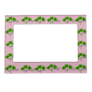 Lucky Pink & Green Four Leaf Clover Picture Frame Photo Frame Magnet