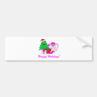 Lucky Pinkie Happy Holidays Bumper Sticker Car Bumper Sticker