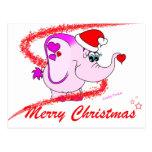 Lucky Pinkie Merry Christmas Postcard