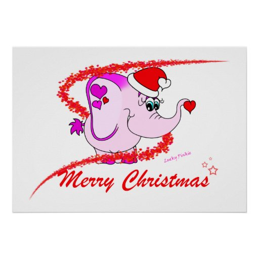 Lucky Pinkie Merry Christmas Poster