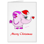 Lucky Pinkie Pink Elephant Merry Christmas Card