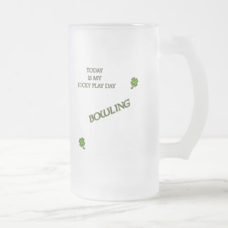 Lucky Play Day Bowling Frosted Glass Mug