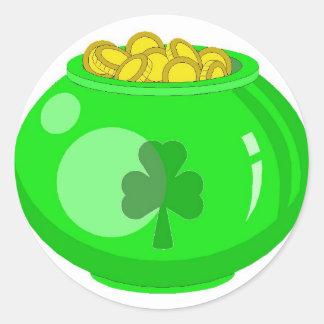Lucky Pot O'Gold Round Sticker