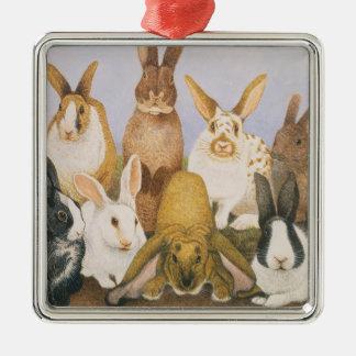 Lucky rabbits christmas ornament