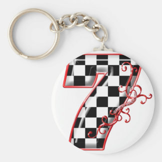 lucky race number 7 basic round button key ring