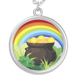 Lucky Rainbow Pot Of Gold Irish Shamrocks Clovers Round Pendant Necklace