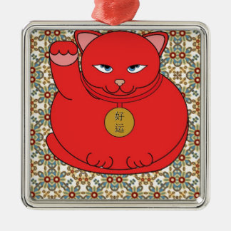 Lucky Red Cat Silver-Colored Square Decoration