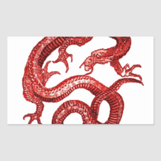 Lucky Red dragon Designed by SHARLES Rectangular Sticker