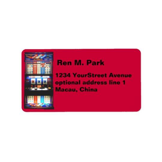 Lucky Red Gambler Slot Machine Address Label