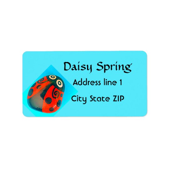 Lucky Red Ladybug on turquoise address labels