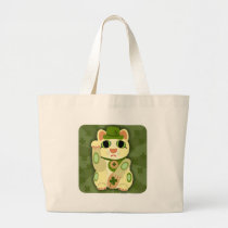 Lucky Saint Patrick's Day Cat Large Tote Bag
