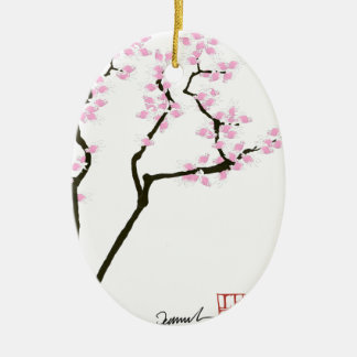 lucky sakura and pink goldfish, tony fernandes ceramic oval decoration
