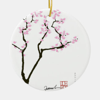 lucky sakura and pink goldfish, tony fernandes round ceramic decoration