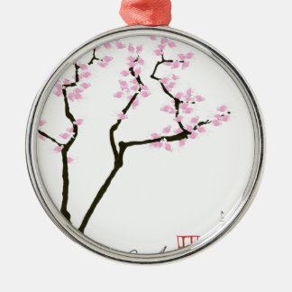 lucky sakura and pink goldfish, tony fernandes Silver-Colored round decoration