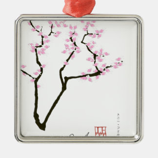 lucky sakura and pink goldfish, tony fernandes Silver-Colored square decoration