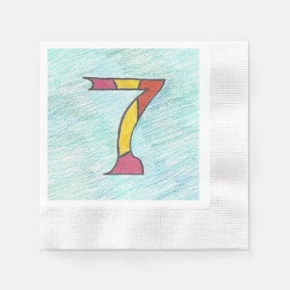 Lucky Seven on Cool Blues Set of Napkins Paper Serviettes