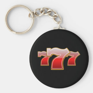 Lucky Seven - Red Sevens on Black Background Basic Round Button Key Ring