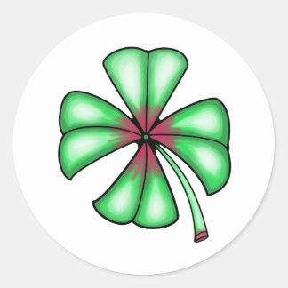 Lucky Shamrock Clover Round Sticker