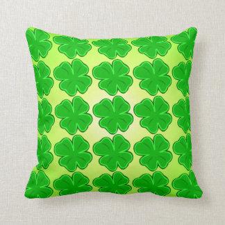 Lucky Shamrock Four Leaf Clover Throw Pillow