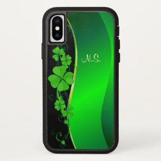 Lucky Shamrock gold  faux glitter wave iPhone X Case
