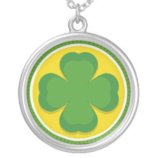 Lucky Shamrock Round Pendant Necklace