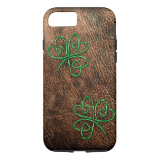 Lucky shamrock on genuine leather iPhone 7 case