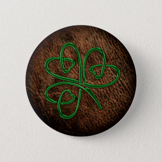 Lucky shamrock on leather texture 6 cm round badge
