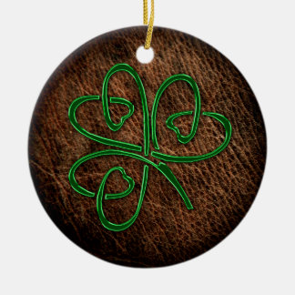 Lucky shamrock on leather texture christmas ornament