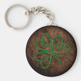 Lucky shamrock on leather texture key ring