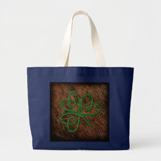 Lucky shamrock on leather texture large tote bag