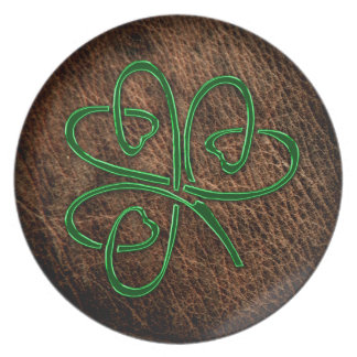 Lucky shamrock on natural leather plate
