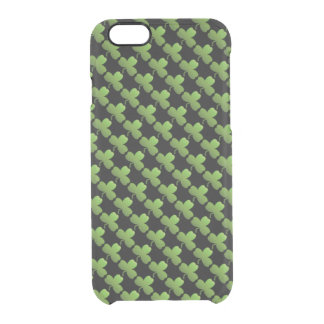 Lucky Shamrock Pattern, Black and Green Clear iPhone 6/6S Case