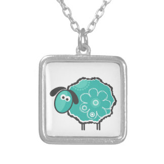 Lucky Sheep Square Pendant Necklace