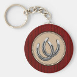 Lucky Silver Horseshoes Western Style Basic Round Button Key Ring