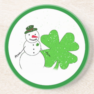 Lucky Snowman With Big 4-Leaf Clover Drink Coasters