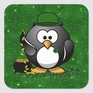 Lucky St Patrick's Day Penguin Square Sticker