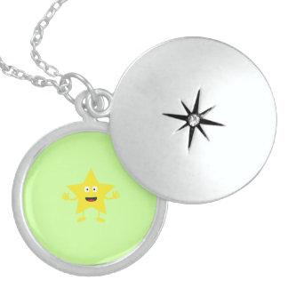 lucky star round locket necklace