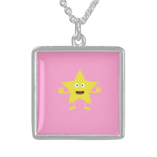 lucky star square pendant necklace
