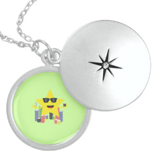lucky star with poker chips round locket necklace