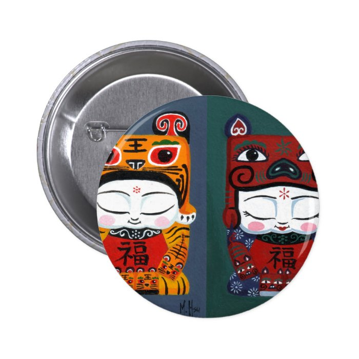 lucky tiger baby together 6 cm round badge