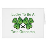 Lucky To Be Twin Grandma Greeting Cards