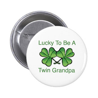 Lucky To Be Twin Grandpa 6 Cm Round Badge
