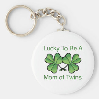Lucky To Be Twin Mom Basic Round Button Key Ring