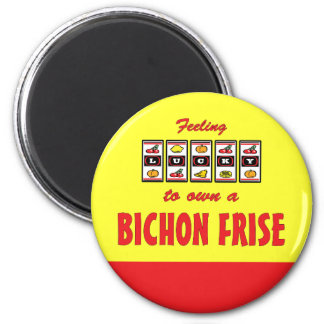 Lucky to Own a Bichon Frise Fun Dog Design 6 Cm Round Magnet