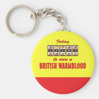 Lucky to Own a British Warmblood Fun Horse Design Basic Round Button Key Ring