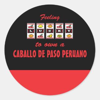 Lucky to Own a Caballo de Paso Peruano Fun Design Round Sticker