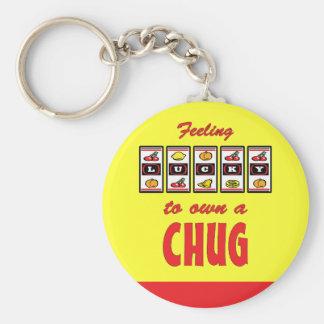 Lucky to Own a Chug Fun Dog Design Basic Round Button Key Ring