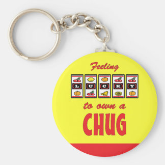 Lucky to Own a Chug Fun Dog Design Key Chains