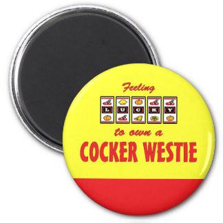 Lucky to Own a Cocker Westie Fun Dog Design Fridge Magnet