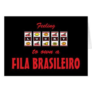 Lucky to Own a Fila Brasileiro Fun Dog Design Greeting Card